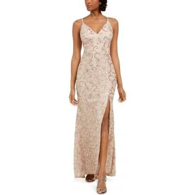 ヴィンス カムート Vince Camuto レディース パーティードレス ワンピース・ドレス Petite Embroidered Lace Gown Blush/Beige