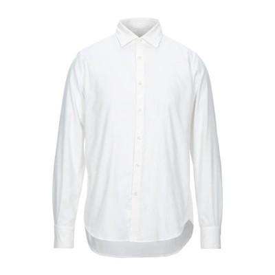 GIANMARCO 無地シャツ ファッション  メンズファッション  トップス  シャツ、カジュアルシャツ  長袖 ホワイト