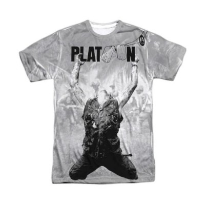 Tシャツ プラトーン Platoon Movie Grayscale Poster Sublimation Licensed Adult T Shirt