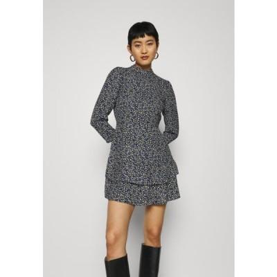ドロシーパーキンス レディース ファッション SHEERED NECK MINI DRESS DITSY PRINT - Day dress - black
