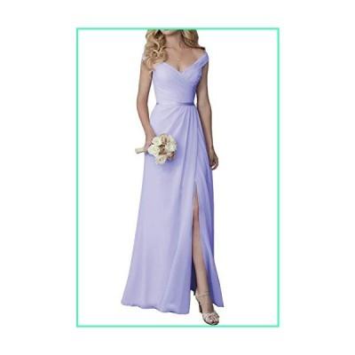 Women's V-Neck Bridesmaid Dresses with Slit Long A Line Chiffon Wedding Party Gowns Lavender Custom並行輸入品