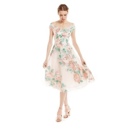 ワンピース レラローズ LELA ROSE Metallic Organza Floral Fil Coupe Dress Blush Rose Gold 6
