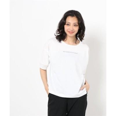 tシャツ Tシャツ 【Cest Tout】ロゴ入りメッシュ使い半袖Tシャツ womens