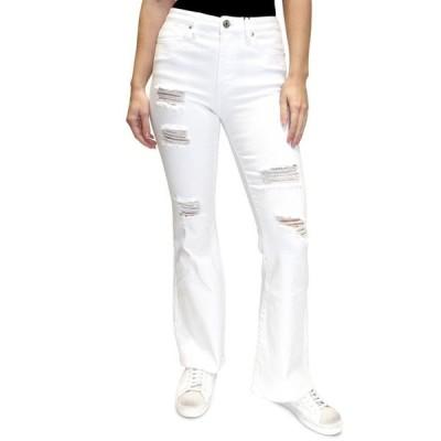 オールモストフェイマス レディース デニムパンツ ボトムス Juniors' Distressed High-Rise Flared Jeans