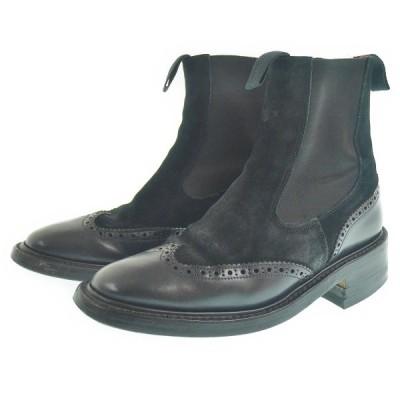 Trickers トリッカーズサイドゴアウイングチップブーツメンズシューズ ブラック 男性用 靴【中古AB】【中古】223786