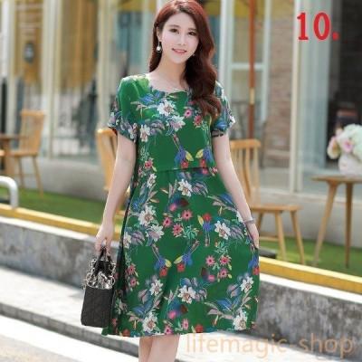 半袖 ワンピース シルクのドレス スカート 半袖 コットン ラウンドネック 夏 ドレス 大きいサイズ 綿
