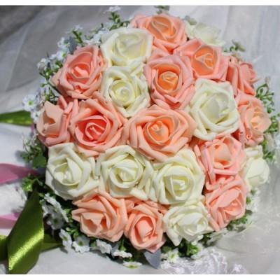 ウエディングブーケ ブートニア 安い 結婚式 ブーケ 花嫁 アレンジメント 披露宴 ウェディング用 ローズ 造花 ブライダルブーケ 手作り