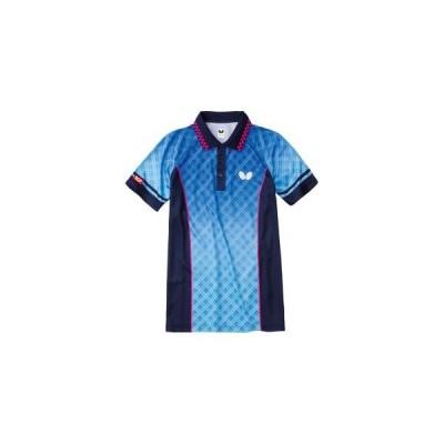 タマス バタフライ フルコラル シャツ 男女兼用 ブルー 3Sサイズ 卓球 ウェア 45130 Butterfly