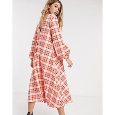 エイソス レディース ワンピース トップス ASOS DESIGN textured midi V neck swing dress in red check print