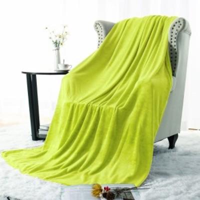 PiccoCasa フランネル ソリッドマイクロファイバープラッシュソファソファカバー 柔らかく暖かいファジー軽量毛布 ベッド用 黄緑