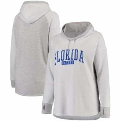 Boxercraft ボクサークラフト スポーツ用品  Florida Gators Womens White/Heathered Gray Plus Size Pinhole Cooldown Hoodie