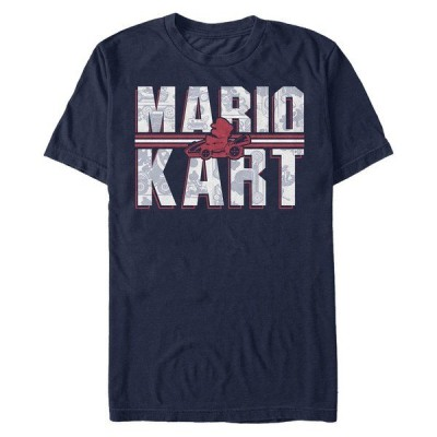 ニンテンドー Tシャツ トップス メンズ Men's Mario Kart Shadowed Logo Short Sleeve T-Shirt Navy