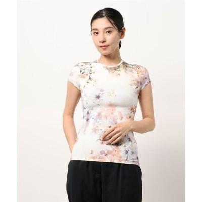 tシャツ Tシャツ AYLEYC フラワープリント フィットTシャツ