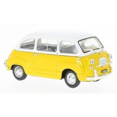 1:43フィアット 600D ムルティプラ 1960(ホワイト/イエロー)-BRUMM(中古品)
