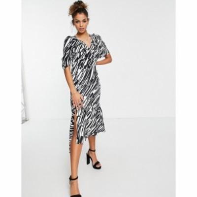 リカリッシュ Liquorish レディース ワンピース ワンピース・ドレス midi dress with peplum hem in zebra print アニマルプリント
