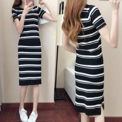 ボーダーワンピ タイト ワンピース ドレス パーティ リゾート 二次会 きれいめ 20代 30代 40代 大きい キャバワンピ 韓国