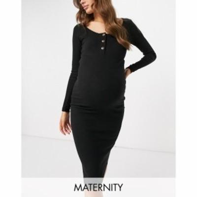ミスガイデッド Missguided Maternity レディース ワンピース ワンピース・ドレス Button Front Dress In Black ブラック