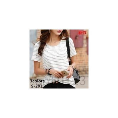 Tシャツレディーストップスインナー半袖薄手ボーダーシャツクルーネックゆったりカジュアル綿100%夏夏物新作tman
