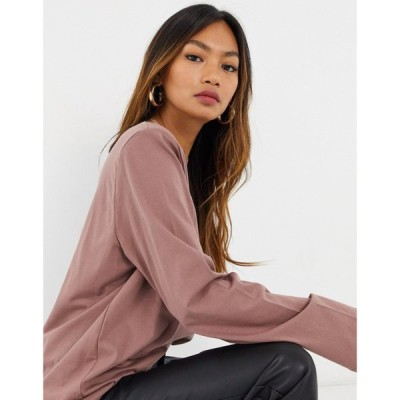 ウィークデイ Weekday レディース 長袖Tシャツ トップス Kai organic cotton long sleeve t-shirt with shoulder pads in plum プラム