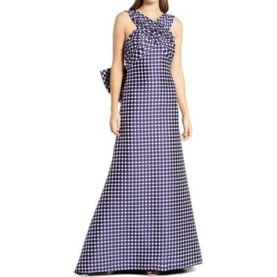 タダシショージ TADASHI SHOJI レディース パーティードレス ワンピース・ドレス Tadahi Shoji Dot Print Bow Back Gown Notte/Ivory