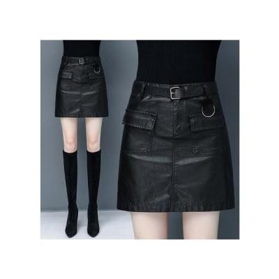 S-4XL PUレザースカート ハイウエスト ブラック  Aラインスカート 台形スカート レディース ミニスカート ボトムス PU革スカート ショート丈スカート OL通勤