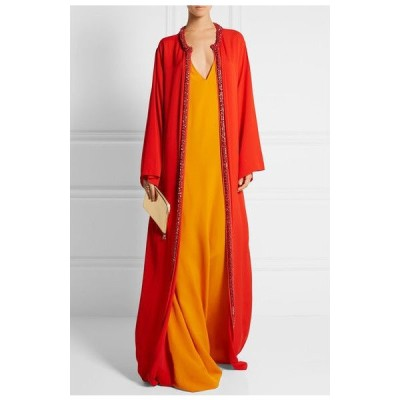 ワンピース オスカーデラレンタ Oscar de la Renta Red Orange Crystal embellished Kaftan Caftan Gown S