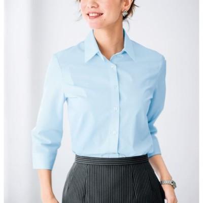 形態安定レギュラーシャツ(7分袖)(UVカット・抗菌防臭・洗濯機OK・部屋干しOK)/ソフトブルー/MT