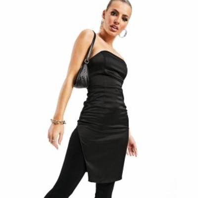 アズユー AsYou レディース ボディコンドレス ワンピース・ドレス ASYOU bandeau thigh split bodycon in black ブラック
