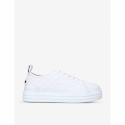 フェンディ FENDI レディース スニーカー シューズ・靴 Logo-embossed flatform leather trainers WHITE