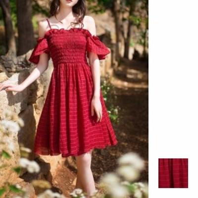 リゾートワンピース ワンピース リゾート 韓国 ファッション  夏 春 カジュアル naloB920  フレア袖 キャミワンピ チューブトップ フレア