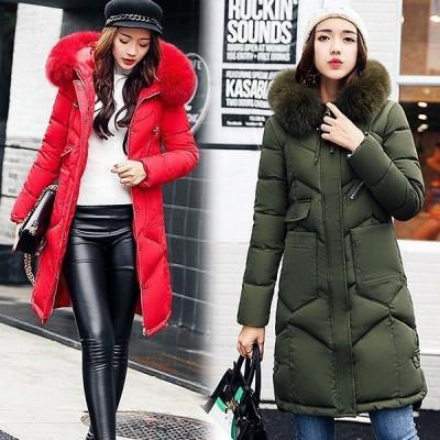 ロングコート ダウンコート レディース 40代 ジャケット 冬服 ダウン綿コート ファー 大人可愛い 通勤 OL 4色 大きいサイズ アウター