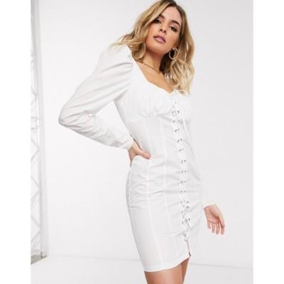 エイソス レディース ワンピース トップス ASOS DESIGN lace up mini dress with ruched bust in white