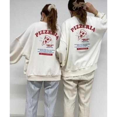 tシャツ Tシャツ バックピザロゴスウェット/ビッグシルエットトップス