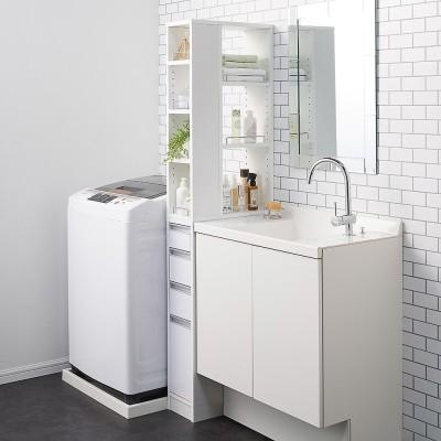 収納物が取り出しやすい3面オープンすき間収納庫 幅20cm ホワイト
