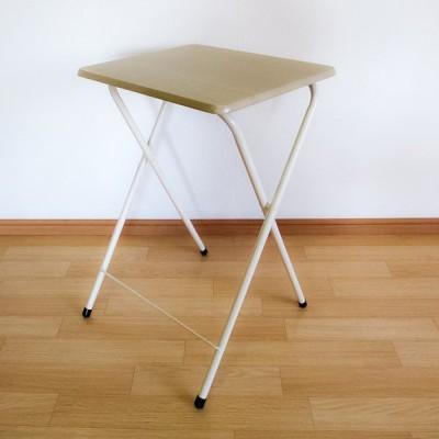 折りたたみデスク ハイテーブル サイドテーブル 簡易テーブル ミニテーブル  PCデスク パイプ スリム ナチュラル ホワイト mt-5040na