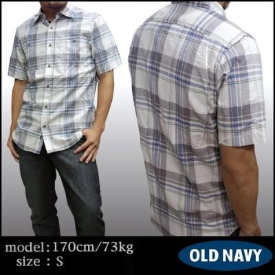【セール】 OLD NAVY オールドネイビー メンズ チェック シャツ ベージュ 半袖 ボタンシャツ GAP ストリート アメカジ ファッション インポート アメリカン