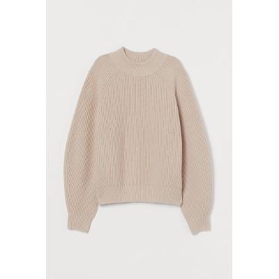 H&M - リブニットセーター - ベージュ