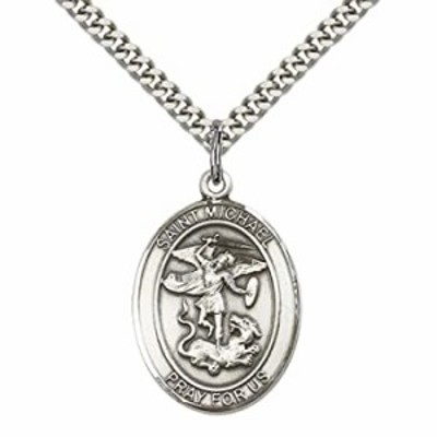 """Sterling Silver St. Michael the Archangel Pendant with 24"""" Stainless Silver Heavy Curb Chain. Patron Saint of Police Officers/EM"""