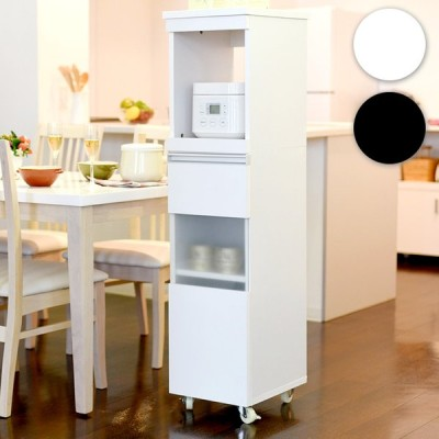 キッチン収納 キッチン レンジワゴン おしゃれ シンプル 収納棚 食器棚 炊飯器台 隙間ミニキッチンシリーズ 家電ラック ハイタイプ 幅30cm FKC-0003 2色対応