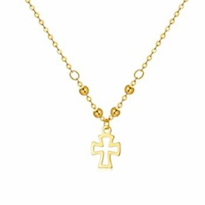 18Kゴールド 小さな十字架ネックレス 女の子用 7mm イエローゴールド 小さな十字架ペンダントネックレス ジュエリー 女性用 16.5+1.2