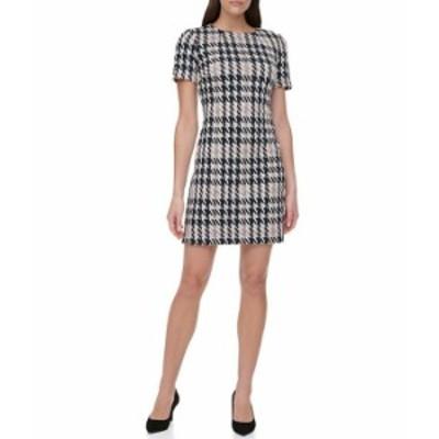 トミー ヒルフィガー レディース ワンピース トップス Houndstooth Knit Short Sleeve Sheath Dress Black/Tan Multi