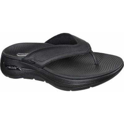 スケッチャーズ メンズ サンダル シューズ Men's Skechers GOwalk Arch Fit Flip Flop Black/Black