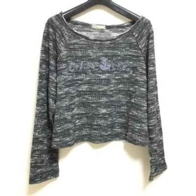 イム/センソユニコ i+mu サイズ38 M レディース - 黒×白×ブルーグレー クルーネック【中古】20210505