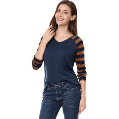 uxcell Allegra K Tシャツ Vネック 長袖 ストライプ柄 ラグランtシャツ カジュアル レディース ネイビーブルー XS
