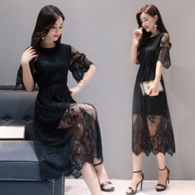 ミモレ丈ワンピース レースワンピ フォーマルドレス 結婚式ドレス パーティドレス 着痩せ 2017新作 大きいサイズ