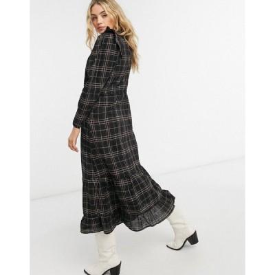 オンリー レディース ワンピース トップス Only maxi dress with ruffle detail in dark plaid Multi