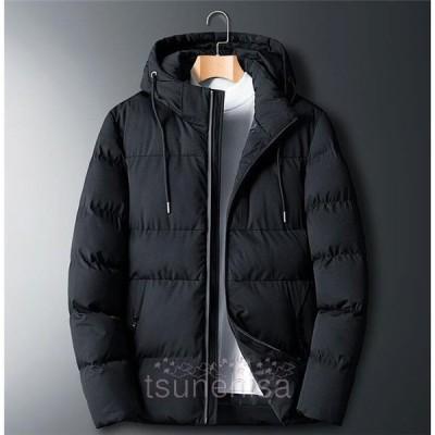 中綿ジャケットメンズ中綿コートショートダウンコート体型カバー大きいサイズフード付き気持ちいい厚手冬服ブルゾンコートアウター
