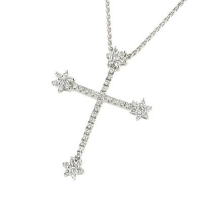 ポンテヴェキオ PONTE VECCHIO クロス ネックレス K18WG メレダイヤモンド 0.45ct 十字架 本物保証 超美品