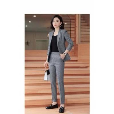 パンツスーツ セットアップスーツ スーツ 大きいサイズ 長袖ジャケット 無地 シンプル 送料無料