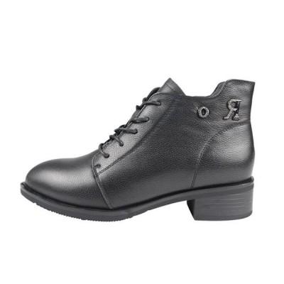 ショートブーツ レディース ブーティ シンプル 黒 牛革 レザー 無地 カジュアルシューズ 歩きやすい 秋冬ブーツ おしゃれ